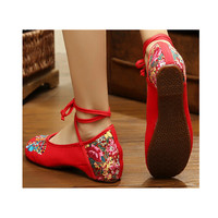 Vintage Chinese Embroidered Ballet Ballerina Cotton Mary Jane Cheap Flat Shoes for Women in Red Floral Design