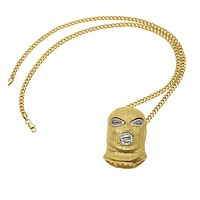 """Hip Hop Iced Out Gold Goon Ski Mask Pendant W/ 36"""" Franco Chain"""