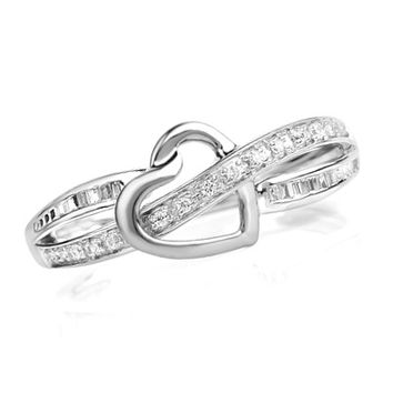1/6 CT. T.W. Diamond Heart Promise Ring in 10K White Gold - View All Rings - Zales