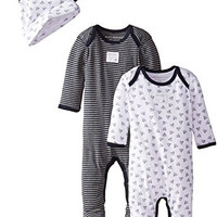 Burt's Bees Baby Baby-Boys Newborn Set Of 2 Organic Coveralls and Knot Top Hats, Blueberry, 6 Months