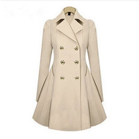 New Fashion Women Clothing Winter/Autumn Trench Coats Double Breasted Lapel Slim Long Vogue Overcoats Plus Size XXXL N888