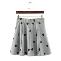 Gray Cat Head Print Mini Skirt