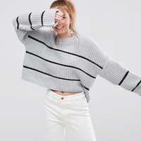 ASOS Chunky Sweater With Contast Ladder Stitch at asos.com