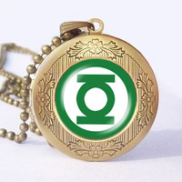 Green Lantern superhero Locket necklace, superhero locket necklace - ready for gifting - buy 3 get 4th one free