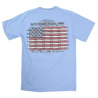 Duck Call Flag Tee Shirt in Washed Denim by Southern Fried Cotton