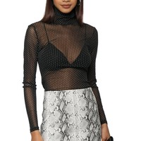 W.A.P.G. Polka Dot Mesh Turtleneck