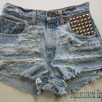 SALE! Studded Ripped High Waisted COACHELLA Festival Denim shorts -Plus Size Available!