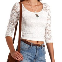 Three-Quarter Sleeve Lace Crop Top by Charlotte Russe