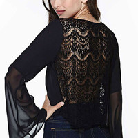 Black Round Neckline Bell Sleeves ChiffonTop with Lace Detail