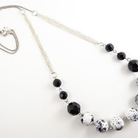 Unique Beaded Necklace - Simple Modern Jewelry - Black & White Bead