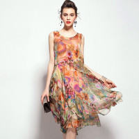 Orange Silk Chiffon Dress