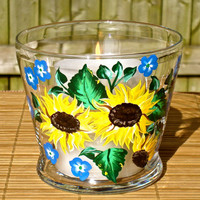 Hand Painted Sunflowers Candle Holder