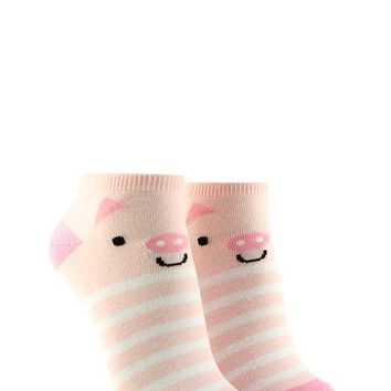 Striped Pig Graphic Ankle Socks