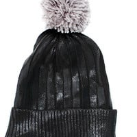Black Metallic Pom Beanie Hat