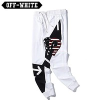 Off White New fashion embroidery numeral star couple pants White
