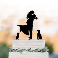 Unique Wedding Cake topper two dog, Cake Toppers with custom dog bride and groom silhouette, funny wedding cake toppers with dog