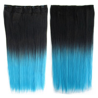Anime Cosplay Wig Gradient Ramp 5 Cards Hair Extension   BlackTTurquoise#