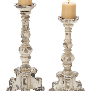 Wooden Candle Holder in Contemporary Rubbed Finish Set of 2