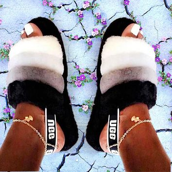 UGG all-match plush slippers for men and women