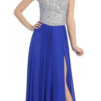 Thigh Slit Studded Bodice Floor Length Royal Blue Ball Gown