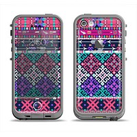 The Pink & Teal Modern Colored Aztec Pattern Apple iPhone 5c LifeProof Fre Case Skin Set