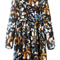 Full Butterfly Print Long Sleeve Dress