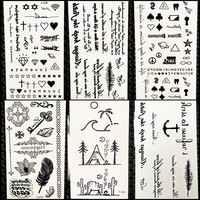 Summer Style Temporary Tattoo Stickers Camping Litter Letter Feather Kids Finger Fake Tattoo Boys Body Arm Art Tatoos Love Paste
