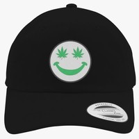 Weed Smiley Embroidered Cotton Twill Hat