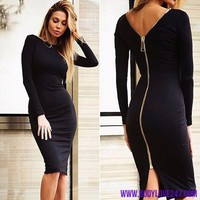 Black Dress Long Sleeve Evening Party Dresses Women  Full Zipper Robe Sexy Pencil Tight