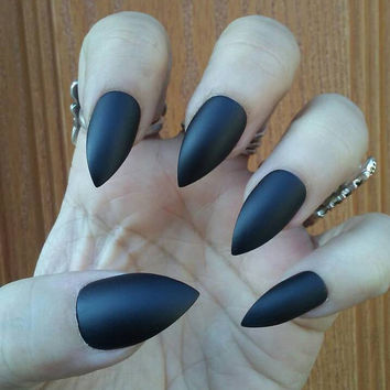 Matte Black Stiletto Nails - Goth/Gothic Nails - Press On Glue On False Acrylic Nails - Also in Long Stiletto/Coffin/Square/Oval or Glossy!