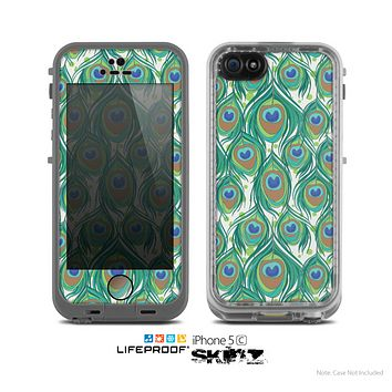 The Peacock Green Feather Bundle Skin for the Apple iPhone 5c LifeProof Case