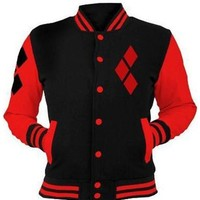 New Black Patchwork PocketsZipper Harley Quinn Sport Long Sleeve Cardigan Hooded Sweatshirt