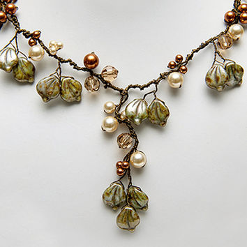 Green Statement Necklace, Green Gold Beaded Necklace, Green Brown Nature Jewelry, Winter Woodland Wedding