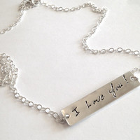 Your Actual Writing Bar Necklace Personalized Signature Jewelry - Your Loved Ones Writing Silver Necklace - Smooth Finish - Made to order