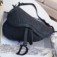 Dior New fashion solid color shoulder bag handbag saddle bag Black