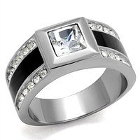 Men's 2CT Russian lab Diamond Stainless Steel Wedding Bands Ring