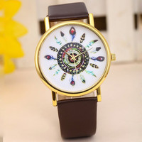 Boho Feather Watch with Brown Wristband
