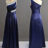 A-line One-shoulder Sleeveless Floor-length Satin Bridesmaid Dress With Rhinestone Free Shipping