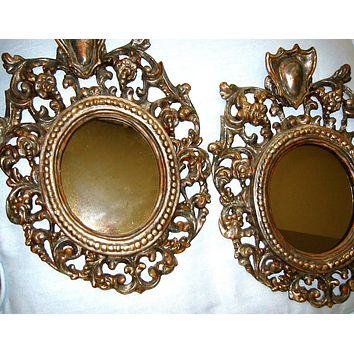 Silver Leaf Crest Italian Pair Mirrors From Florence Italy