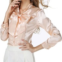 Casual Tie Collar Bowknot Plain Blouse