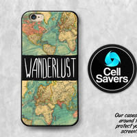 Wanderlust iPhone 6s Case iPhone 6 Case iPhone 6 Plus Case iPhone 6s Plus iPhone 5c Case iPhone 5 Wanderlust Quote World Map Travel Tumblr