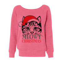 Pink Wideneck Meowy Christmas Merry Cat Kitten Ugly Oversized Ugly Christmas Sweatshirt Sweater Jumper Pullover