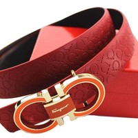Tagre™ Ferragamo Adjustable Belt Red