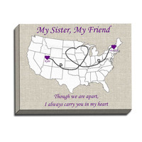My Sister My Friend Canvas Gallery Wrap- us states map canvas, best friend present, long distance sister, USA heart map wall, heart love map