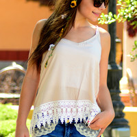 LACE ME UP TANK TOP IN TAN