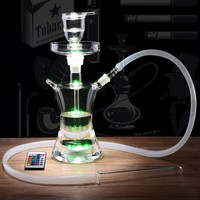 Small Russian Style Glass Hookahs With LED Light Bowl