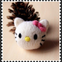DIY Kit -Classic hellokitty hello kitty Needle Felting Kit - hello kitty Craft Kit