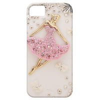 Elegant Pink and Gold Ballet Dancer with Diamonds iPhone 5 Covers from Zazzle.com