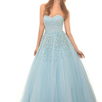 Eleni Elias P467 Floral Beaded Sweetheart Tulle Ball Gown Prom Dress