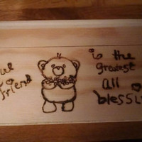 Small Wooden Keepsake Box Best Friends Wood Burned Teddy Bears with Hearts Can Be Personalized and Stained Hand Drawn Art Valentines Day